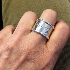 'Hear my soul speak ' sterling ring